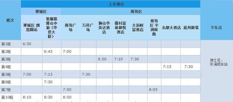佛山至香港迪士尼大巴发车时间表及上落车地点